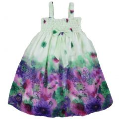 Wenchoice Little Girls Lime Green Purple Chiffon Baby Doll Dress 24M-8