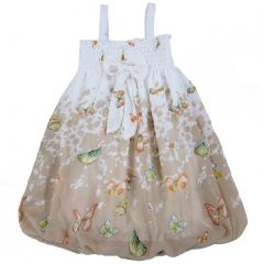 Wenchoice Little Girls White Brown Butterflies Chiffon Baby Doll Dress 24M-8
