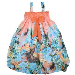 Wenchoice Little Girls Orange Blue Floral Chiffon Baby Doll Dress 24M-8