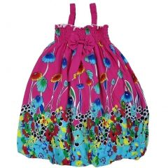 Wenchoice Little Girls Hot Pink Green Floral Cotton Baby Doll Dress 24M-8