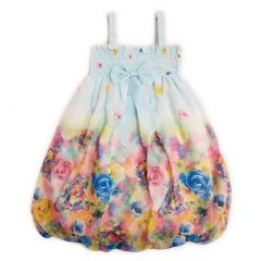 Wenchoice Little Girls Baby Blue Rose Floral Chiffon Baby Doll Dress 24M-8