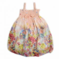 Wenchoice Little Girls Coral Rose Strap Bow Floral Chiffon Baby Doll Dress 24M-8