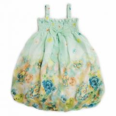 Wenchoice Little Girls Teal Rose Strap Bow Floral Chiffon Baby Doll Dress 24M-8
