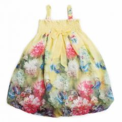 Wenchoice Little Girls Yellow Peony Butterfly Chiffon Baby Doll Dress 24M-8