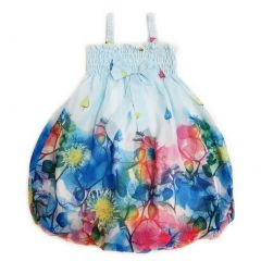 Wenchoice Little Girls Baby Blue Leaves Chiffon Baby Doll Dress 24M-8