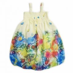 Wenchoice Little Girls Yellow Leaves Chiffon Baby Doll Dress 24M-8