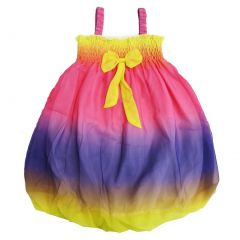 Wenchoice Little Girls Rainbow Straps Bow Chiffon Baby Doll Dress 24M-8