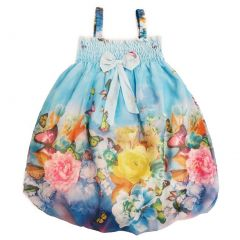 Wenchoice Little Girls Blue Butterfly Straps Bow Chiffon Baby Doll Dress 24M-8