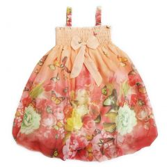 Wenchoice Little Girls Coral Butterfly Straps Bow Chiffon Baby Doll Dress 24M-8
