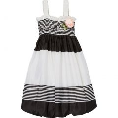 Wenchoice Little Girls Black White Stripes Flower Chiffon Baby Doll Dress 24M-8