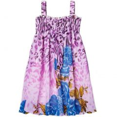 Wenchoice Little Girls Purple Rose Floral Print Chiffon Baby Doll Dress 24M-8