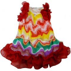 Wenchoice Little Girls Red Colorful Wave Ruffles Chiffon Dress 24M-6