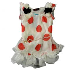 Wenchoice Little Girls White Red Dots Ruffles Chiffon Dress 24M-8