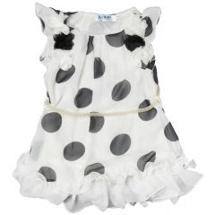 Wenchoice Little Girls White Black Dots Ruffles Chiffon Dress 24M-6