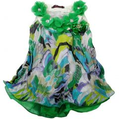 Wenchoice Little Girls Green Colorful Crinkling Chiffon Swing Dress 24M-6