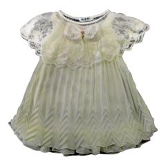 Wenchoice Little Girls White Lace Crinkling Swing Chiffon Dress 24M-6