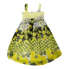 Wenchoice Little Girls Yellow Black Floral Print Chiffon Baby Doll Dress 24M-8