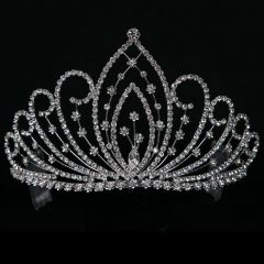 Girls Silver Floral Pageant, Quinceanera, Communion Tiara Headpiece