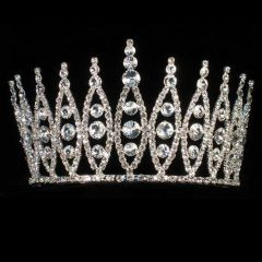 Girls Silver Solitaire Pageant Quinceanera Communion Crown Headpiece