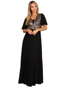 Fanny Fashion Womens Black Gold Flutter Sleeves Sequin Evening Gown S-4XL