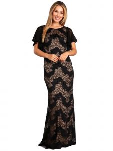 Fanny Fashion Womens Black Nude Ruffled Sleeves Lace Evening Gown S-4XL