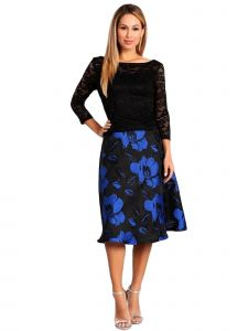 Fanny Fashion Womens Black Royal Blue Floral Print Skirt Evening Gown S
