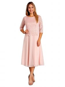 Fanny Fashion Womens Blush Lace Bodice Chiffon Skirt Evening Gown XL