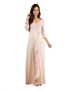 Fanny Fashion Blush V-Neck Sequined Lace Bodice Evening Gown S-XXXL
