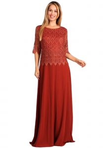 Fanny Fashion Womens Brown Crochet Lace Overlay Evening Gown M-4XL