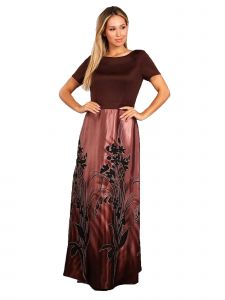 Fanny Fashion Womens Brown Floral Print Skirt Evening Gown M-XXL