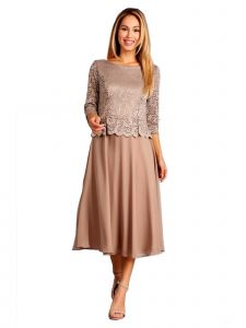 Fanny Fashion Womens Light Brown Lace Bodice Chiffon Skirt Evening Gown M-4XL