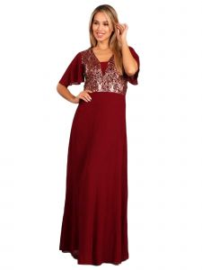 Fanny Fashion Womens Burgundy Flutter Sleeves Sequin Evening Gown S-4XL