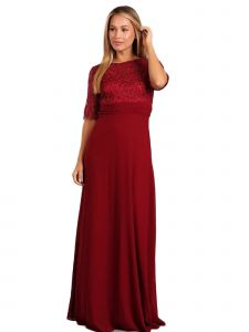 Fanny Fashion Womens Burgundy Lace Pleated Detail Evening Gown S-4XL