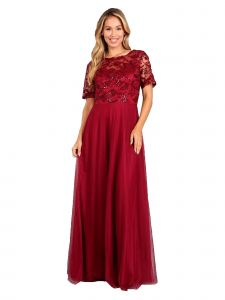 Fanny Fashion Womens Burgundy Pleated Sequin Bodice Evening Gown S-4XL