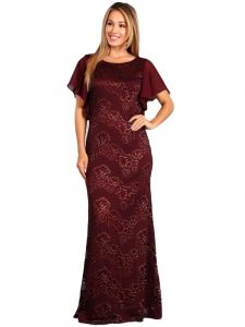 Fanny Fashion Womens Burgundy Ruffled Sleeves Lace Evening Gown XXXL