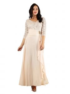 Fanny Fashion Champagne V-Neck Sequined Lace Bodice Evening Gown S-XXXL