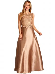Fanny Fashion Womens Copper Lace Bodice Satin Evening Gown S-XXXL