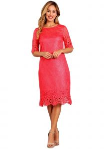Fanny Fashion Womens Coral Crochet Embroidered Trim Lace Evening Gown S
