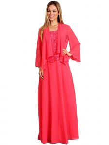 Fanny Fashion Womens Coral Lace Bodice Draped Cardigan Evening Gown M-4XL