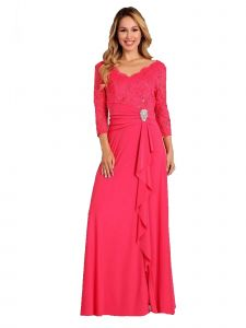 Fanny Fashion Womens Coral V-Neck Sequined Lace Bodice Evening Gown S-XXXL