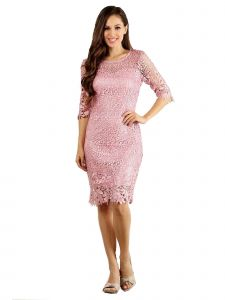 Fanny Fashion Womens Dusty Rose Crochet Lace Knee Length Evening Gown S-4XL
