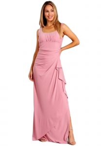 Fanny Fashion Womens Dusty Rose Ruched Slit Skirt Evening Gown XXL