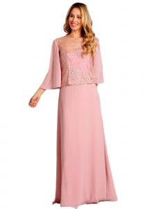 Fanny Fashion Womens Dusty Rose Sequin Overlay Evening Gown S-4XL