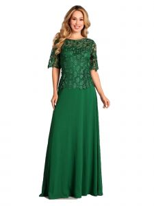 Fanny Fashion Emerald Green Crochet Lace Evening Gown S-4XL