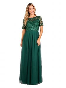 Fanny Fashion Womens Emerald Green Pleated Sequin Bodice Evening Gown M