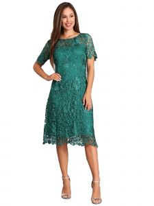 Fanny Fashion Womens Emerald Green Round Neck Pleats Lace Cocktail Dress S-4XL
