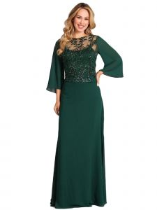Fanny Fashion Womens Emerald Green Sequin Overlay Evening Gown S-4XL