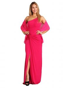 Fanny Fashion Womens Color One Shoulder Slit Skirt Evening Gown S-XXL