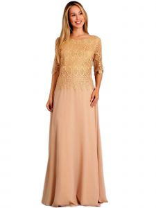 Fanny Fashion Womens Gold Crochet Lace Overlay Evening Gown M-4XL