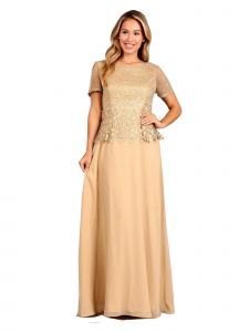 Fanny Fashion Womens Gold Pleated Embellished Bodice Evening Gown M-4XL
